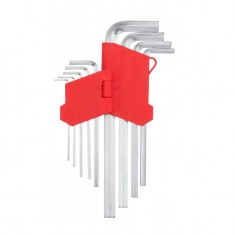 9 pcs HEX key set, 1.5-10 mm, Cr-V, 55 HRC long INTERTOOL HT-0602
