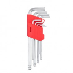 9 pcs ball point HEX key set, 1.5-10 mm, Cr-V, 55 HRC long INTERTOOL HT-0603