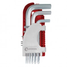 Hex key set 9 pcs, ball end, 1.5-10 mm, S2, PROF INTERTOOL HT-1813