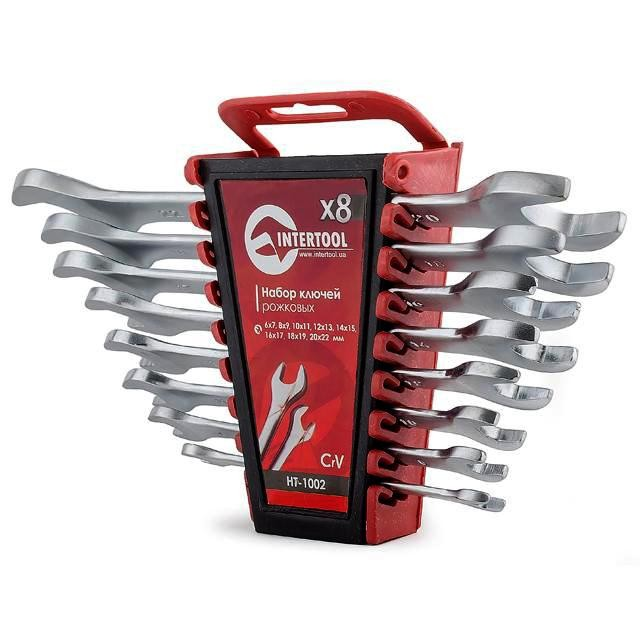 Open end wrench set, 8 pcs., 6-22 mm CrV INTERTOOL HT-1002