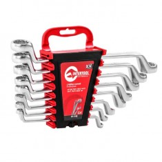 Offset ring spanner set 8 pcs., 6-22 mm, CrV INTERTOOL HT-1102: фото 4