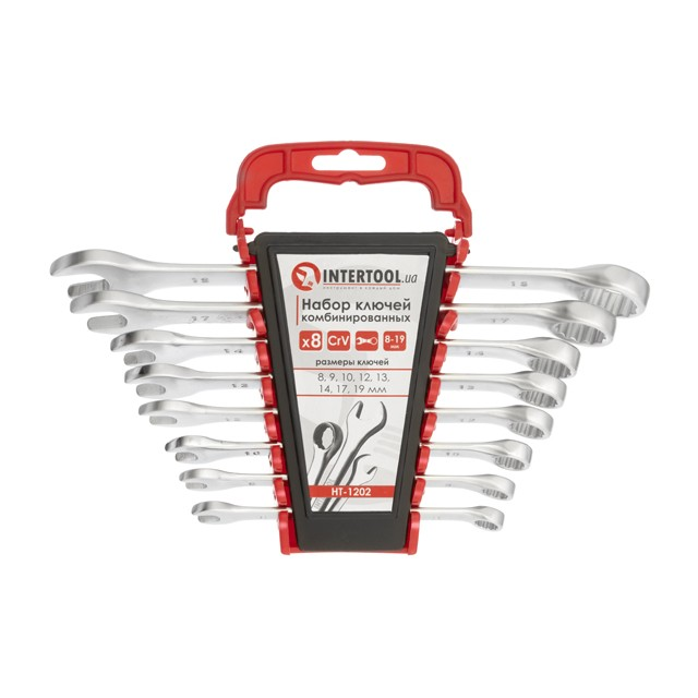 Combination wrench set 8 pcs, 8-19 mm CrV INTERTOOL HT-1202