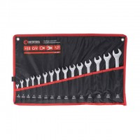 Combination wrench set 15 pcs 6-19, 22 mm CrV INTERTOOL HT-1204