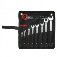 Combination spanners set 8 pcs (6 mm; 8 mm; 10 mm; 12 mm; 13 mm; 14 mm; 17 mm; 19 mm); PROF DIN3113 INTERTOOL XT-1002