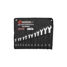 Combination spanners set 14 pcs (6 mm; 7 mm; 8 mm; 9 mm; 10 mm; 11 mm; 12 mm; 13 mm; 14 mm; 15 mm; 17 mm; 19 mm; 22 mm; 24 mm]; PROF DIN3113 INTERTOOL XT-1004