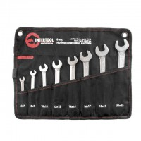Open end wrenches set 8 pcs 6-22 mm CrV, satin chrom finish; PROF DIN3113 INTERTOOL XT-1102