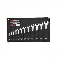 Open end wrenches set 12 pcs 6-32 mm CrV, satin chrom finish; PROF DIN3113 INTERTOOL XT-1103