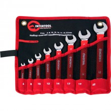 Combination wrenches set 8 pcs (6 mm; 8 mm; 10 mm; 12 mm; 14 mm; 17 mm; 19 mm;22 mm), pouch; PROF DIN3113 INTERTOOL XT-1508