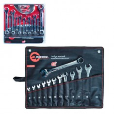 Combination wrenches set 12 pcs (6mm; 7mm; 8mm; 9mm; 10mm; 11mm; 12mm; 13mm; 14mm; 17mm; 19mm; 22mm), pouch; PROF DIN3113 INTERTOOL XT-1512