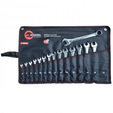 Combination wrenches set 14 pcs (6mm; 7mm; 8mm; 9mm; 10mm; 11mm; 12mm; 13mm; 14mm; 15mm; 16mm; 17mm; 18mm; 19mm; 22mm), pouch; PROF DIN3113 INTERTOOL XT-1514