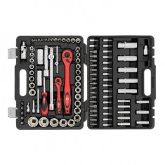 "Professional Socket Wrench Hand Tool Set/Kit, 108-Piece, 1/2"" & 1/4"", sizes: 4-32 mm, E4-E24, durable plastic case, high quality CrV steel, INTERTOOL ET-6108: фото 2"