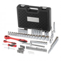 "Professional Socket Wrench Hand Tool Set/Kit, 108-Piece, 1/2"" & 1/4"", sizes: 4-32 mm, E4-E24, durable plastic case, high quality CrV steel, INTERTOOL ET-6108: фото 3"