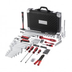 "Professional Socket Wrench Hand Tool Set/Kit, 145-Piece, 1/4"" & 1/2"", sockets 4-32 mm, wrenches 6-27 mm, durable plastic case, high quality CrV steel, INTERTOOL ET-7145: фото 3"