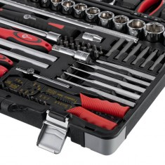 "Professional Socket Wrench Hand Tool Set/Kit, 145-Piece, 1/4"" & 1/2"", sockets 4-32 mm, wrenches 6-27 mm, durable plastic case, high quality CrV steel, INTERTOOL ET-7145: фото 5"