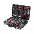 "Professional Socket Wrench Hand Tool Set/Kit, 145-Piece, 1/4"" & 1/2"", sockets 4-32 mm, wrenches 6-27 mm, durable plastic case, high quality CrV steel, INTERTOOL ET-7145"