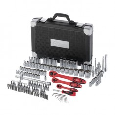 "Professional Socket Wrench Hand Tool Set/Kit, 151-Piece, 1/2"" & 1/4"" & 1/8"", sockets 4-32 mm, E4-E18, durable plastic case, high quality CrV steel, INTERTOOL ET-7151: фото 3"
