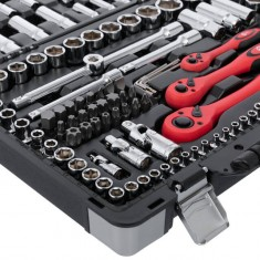 "Professional Socket Wrench Hand Tool Set/Kit, 151-Piece, 1/2"" & 1/4"" & 1/8"", sockets 4-32 mm, E4-E18, durable plastic case, high quality CrV steel, INTERTOOL ET-7151: фото 5"