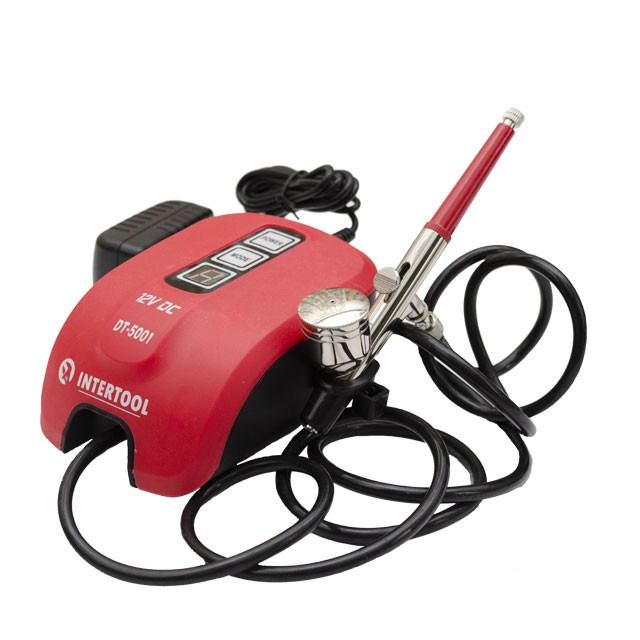 Power air brush 12 W, 12 V, 10-15 l/min, 0-2 bar INTERTOOL DT-5001