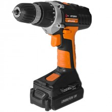 Cordless drill STORM, 18 V, 2 speed, 0-400/0-1150 rpm, 2 batteries, 1 hour charging INTERTOOL WT-0318