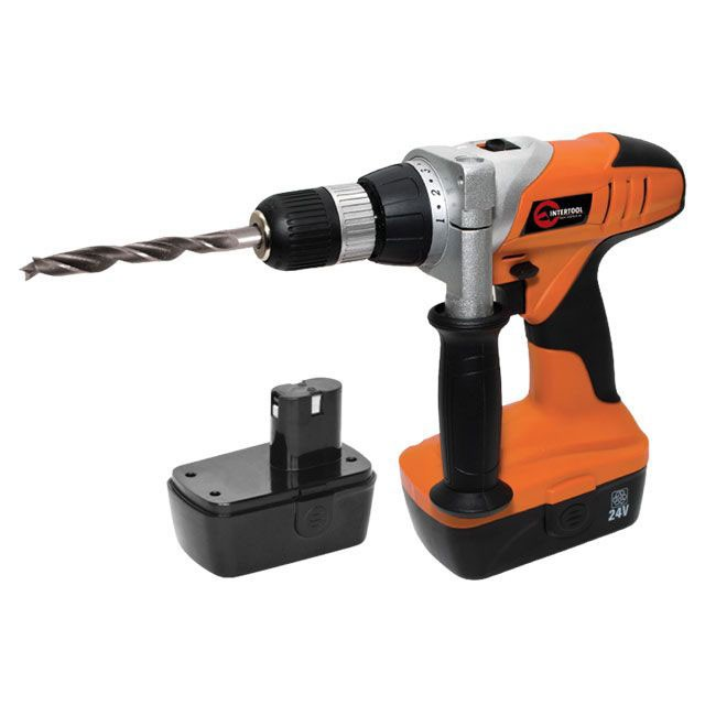 Cordless drill STORM, 24 V, 2 speed, 0-500/0-1400 rpm, 2 batteries, 1 hour charging INTERTOOL WT-0324