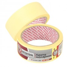 Painting tape 38 mm, 20 m, yellow INTERTOOL DM-3820