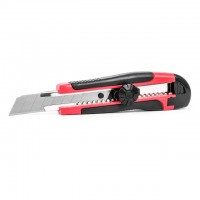 Knife with metal guide for blade 18 mm with rubber handle INTERTOOL HT-0503
