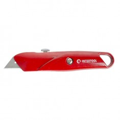 Retractable blade knife, trapezoid blade, metal body INTERTOOL HT-0505: фото 5