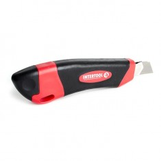 Snap-off blade knife 18 mm with metal guide, anti-slip body, snapper INTERTOOL HT-0506: фото 3