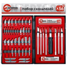 Hobby knifes set 56 pcs in plastic case INTERTOOL HT-0530