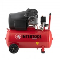 Compessor 50 liters, 3 HP, 2,23 kW, 220 volt, 8 atm, 354 litres per minute, 2 cylinders INTERTOOL PT-0004