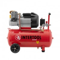Compessor 50 liters, 4 HP, 3 kW, 220 volt, 8 atm, 420 litres per minute, 2 cylinders INTERTOOL PT-0007