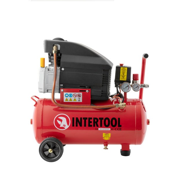 Compessor 24 liters, 2 HP, 1,5 kW, 220 volt, 8 atm, 206 litres per minute INTERTOOL PT-0010
