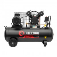 Compessor 100 liters, 4 HP, 3 kW, 380 volt, 8 atm, 500 litres per minute, 2 cylinders INTERTOOL PT-0013