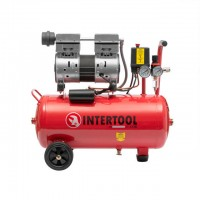 Compressor 24 liters, 1,5 HP, 1,1 kW, 220 volt, 7 atmosphere, 145 litres per minute, oil-free, low-noice INTERTOOL PT-0022
