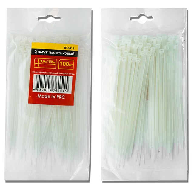 Cable ties, 3,6x150 mm (100 pcs/pack), white INTERTOOL TC-3615