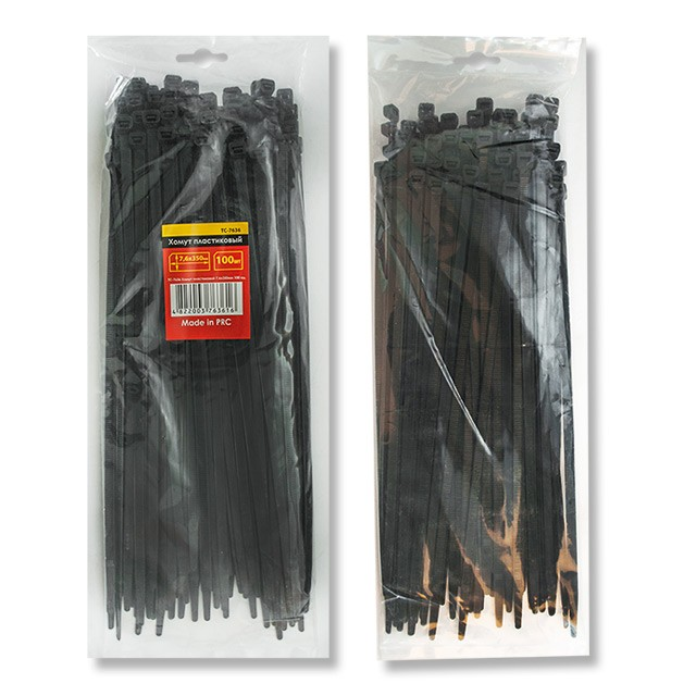 Cable ties, 7,6x350 mm (100 pcs/pack), black INTERTOOL TC-7636