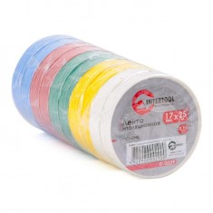 Insulating tape, 0,15mmx17mmx25m (pack 10pcs), many-coloured INTERTOOL IT-0029: фото 3