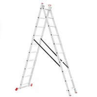 Aluminum ladder 2-sectional folding universal 2x10 steps 4,81 m INTERTOOL LT-0210