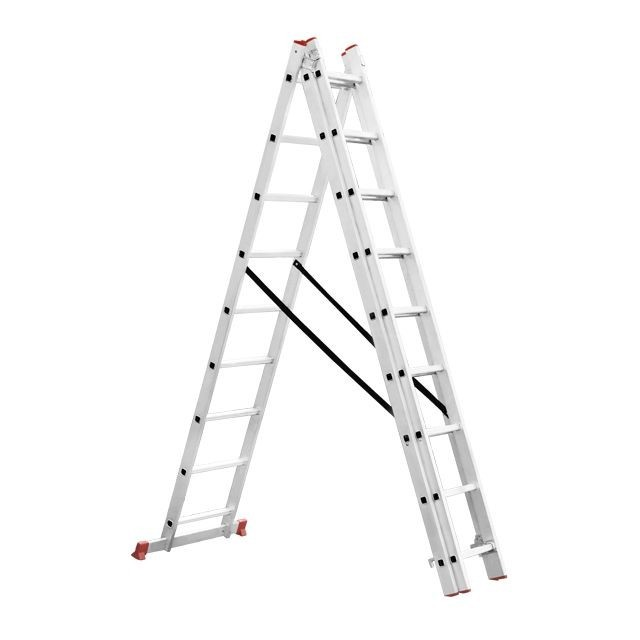Aluminum ladder 3-sectional folding universal 3x8 steps 5,09 m INTERTOOL LT-0308