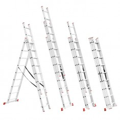 Aluminum ladder 3-sectional folding universal 3x8 steps 5,09 m INTERTOOL LT-0308: фото 2