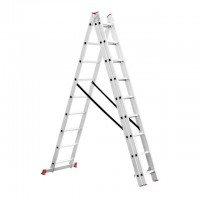 Aluminum ladder 3-sectional folding universal 3x9 steps 5,93 m INTERTOOL LT-0309