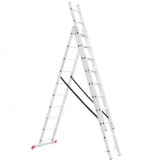 Aluminum ladder 3-sectional folding universal 3x10 steps 6,77 m INTERTOOL LT-0310: фото 2