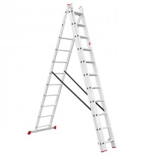 Aluminum ladder 3-sectional folding universal 3x11 steps 7,33 m INTERTOOL LT-0311