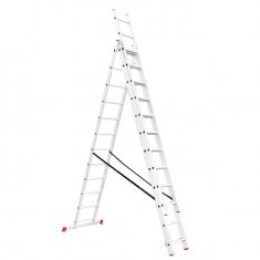 Aluminum ladder 3-sectional folding universal 3x12 steps 7,89 m INTERTOOL LT-0312: фото 2
