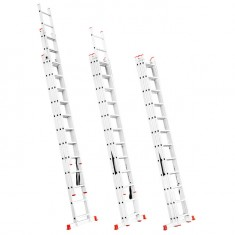 Aluminum ladder 3-sectional folding universal 3x12 steps 7,89 m INTERTOOL LT-0312: фото 3