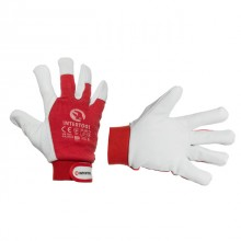 "Pig grain leather glove, red cotton fabric back, full palm, elastic cuff with velcro fastener, 10"" INTERTOOL SP-0012"