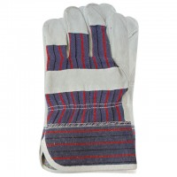 "Cow split leather glove, full palm, striped cotton back, pasted cuff, palm lining, 10,5"" INTERTOOL SP-0150"