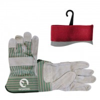 "Cow split leather glove, full palm, striped cotton back, rubberized cuff, palm lining, 10,5"" INTERTOOL SP-0151"