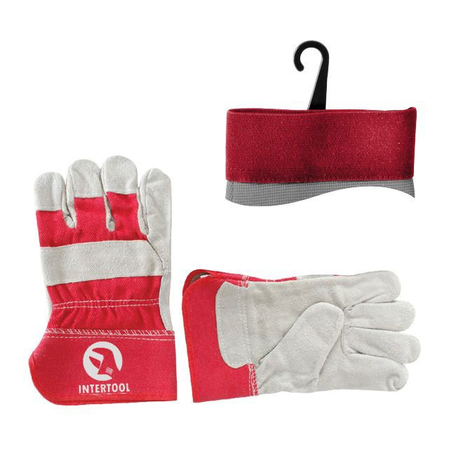 "Cow split leather glove, full palm, striped cotton back, rubberized cuff, palm lining, 10,5"" INTERTOOL SP-0152"