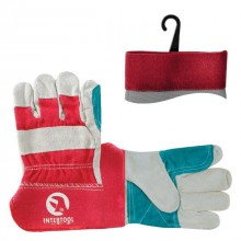 "Cow split leather glove, double palm, striped cotton back, rubberized cuff, 10,5"" INTERTOOL SP-0153"